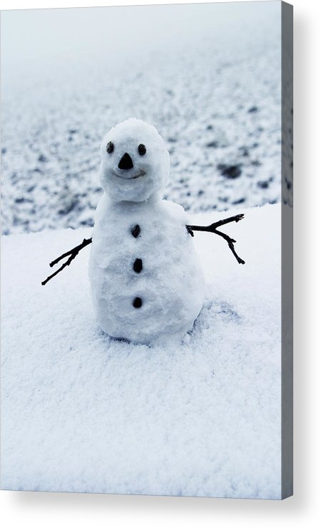 Snowman Acrylic Print featuring the photograph Snowman 1 by Brian Middleton