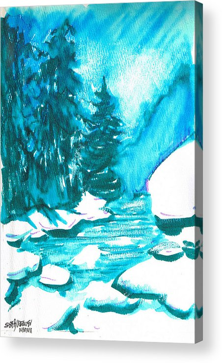 Chilling Acrylic Print featuring the mixed media Snowy Creek Banks by Seth Weaver