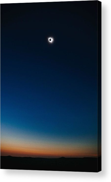 Sun Acrylic Print featuring the painting Solar Eclipse, Syzygy, The Sun, The Moon And Earth by Celestial Images