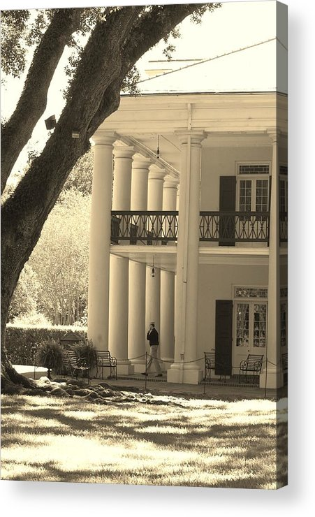 Black And White Acrylic Print featuring the photograph Soldier Leaving Plantation by Michelle Williams