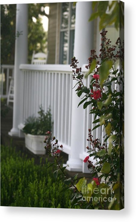 Summer Acrylic Print featuring the photograph Southern Summer Flowers And Porch by Nadine Rippelmeyer