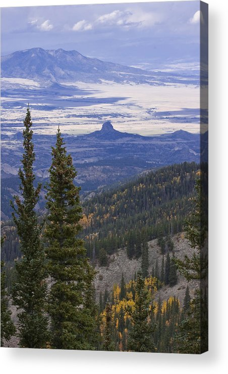 Black Mesa Acrylic Print featuring the photograph Spanish Peaks by Charles Warren