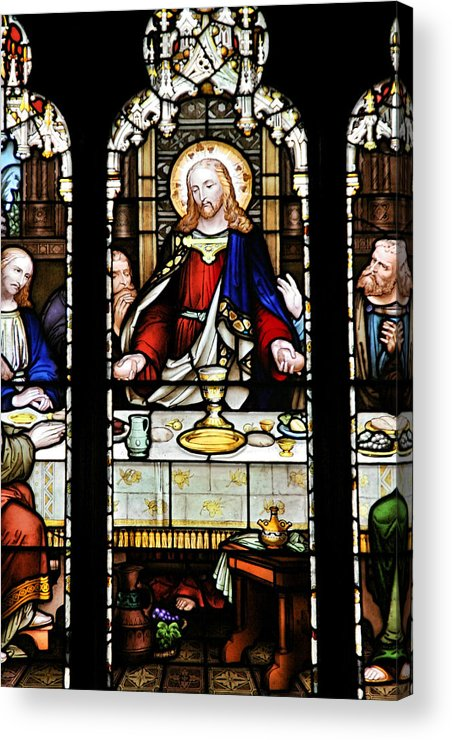 Stained Acrylic Print featuring the photograph Stained Glass Window Last Supper Saint Giles Cathedral Edinburgh Scotland by Christine Till
