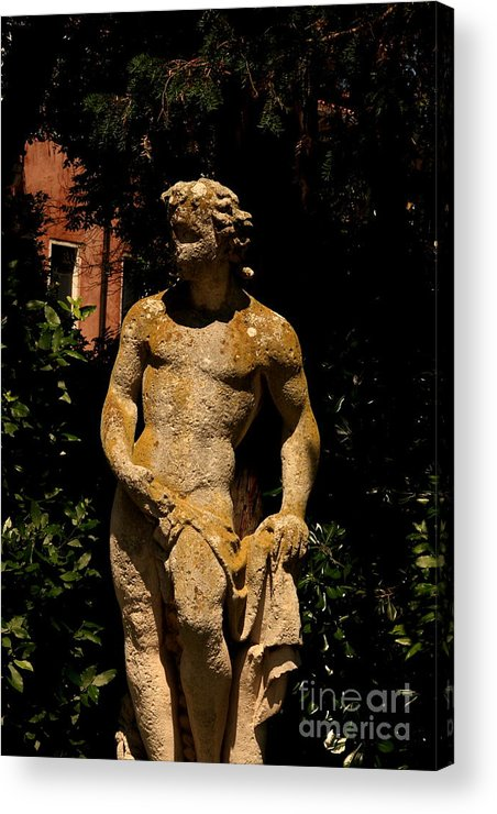Venice Acrylic Print featuring the photograph Statue In The Garden In Venice by Michael Henderson