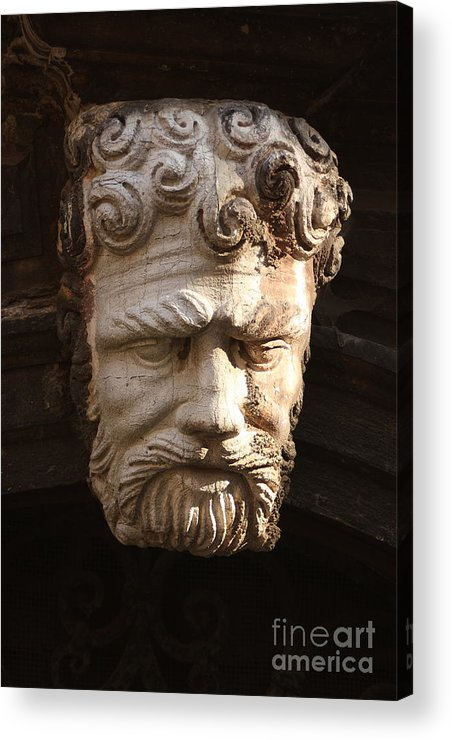 Venice Acrylic Print featuring the photograph Stone Head In Venice by Michael Henderson
