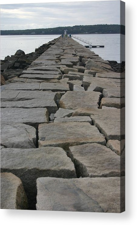 Landscape Acrylic Print featuring the photograph Stone Walk To Light House by Dennis Curry