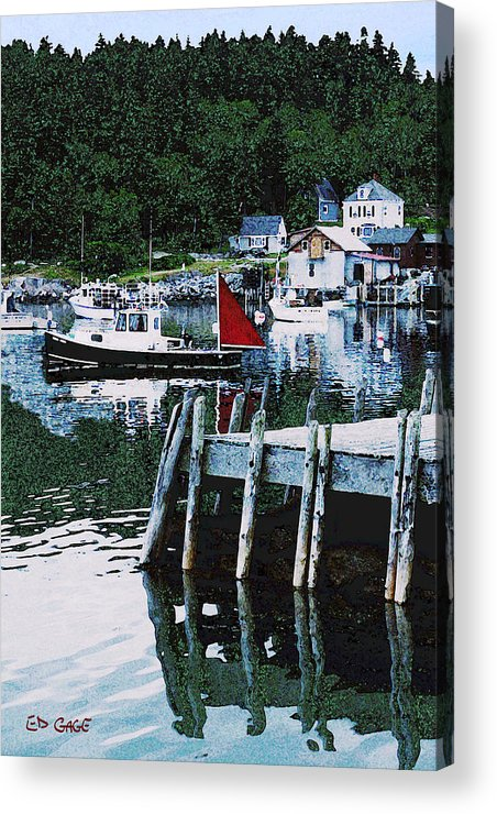 Maine Acrylic Print featuring the photograph Stonington Harbor With Pier Maine Coast by Ed A Gage