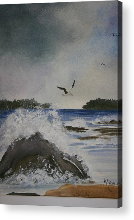 Ocean Acrylic Print featuring the painting Stormy Inlet by Michele Turney