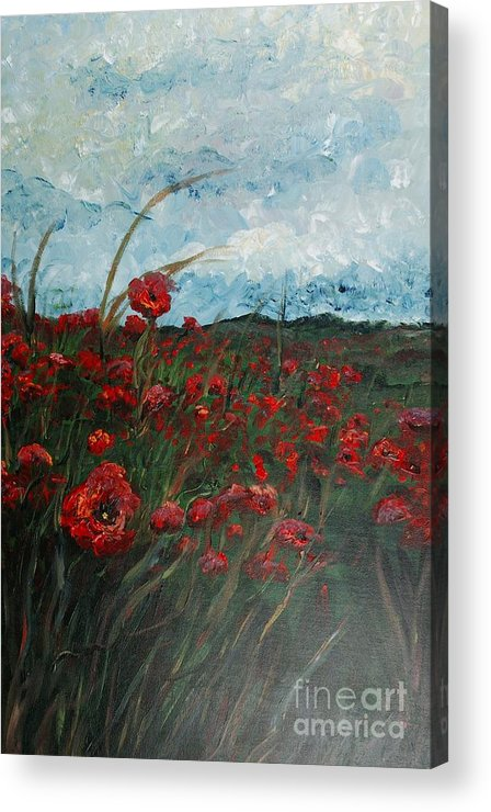 Poppies Acrylic Print featuring the painting Stormy Poppies by Nadine Rippelmeyer