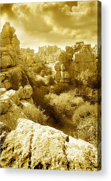 Rock Acrylic Print featuring the photograph Strange Rock Formations At El Torcal Near Antequera Spain by Mal Bray