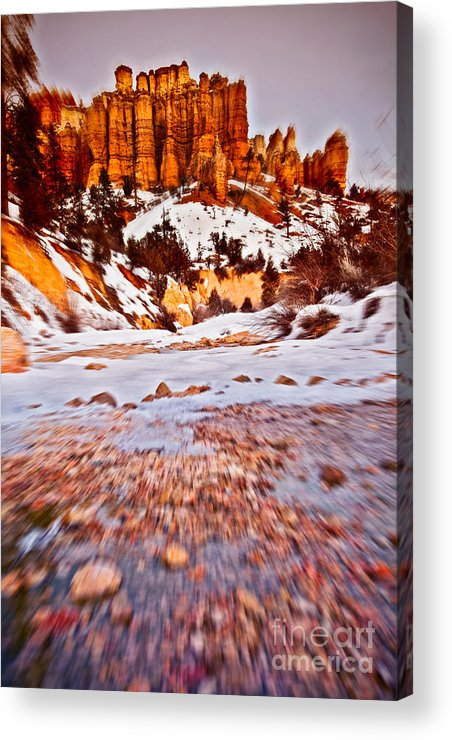 Rock Acrylic Print featuring the photograph Stream To A Mossy Cave I by Irene Abdou
