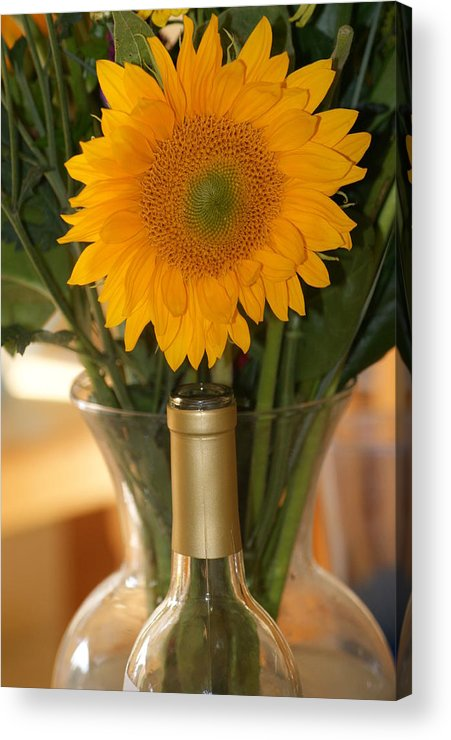 Sunflower Acrylic Print featuring the photograph Sunflower In A Bottle Or Is It Vase. by Liz Vernand