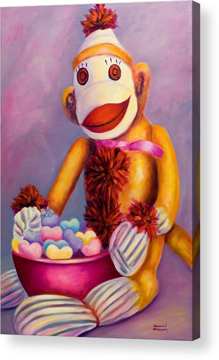 Heart Acrylic Print featuring the painting Sweetheart Made Of Sockies by Shannon Grissom