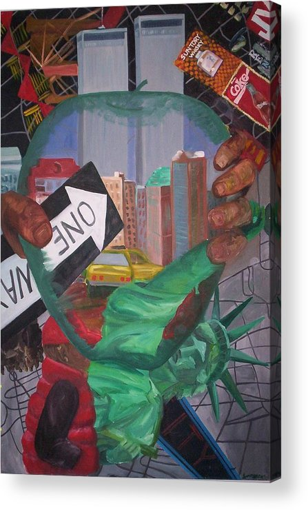 New York Acrylic Print featuring the painting The Big Apple by Lauren Luna