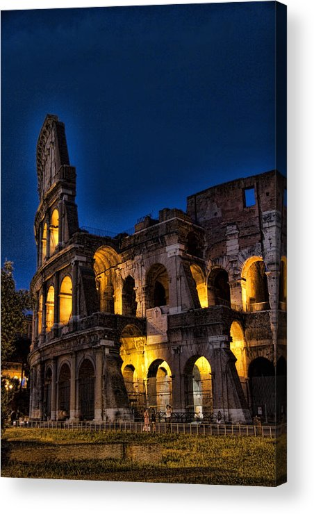 Coleseum Acrylic Print featuring the photograph The Coleseum In Rome At Night by David Smith