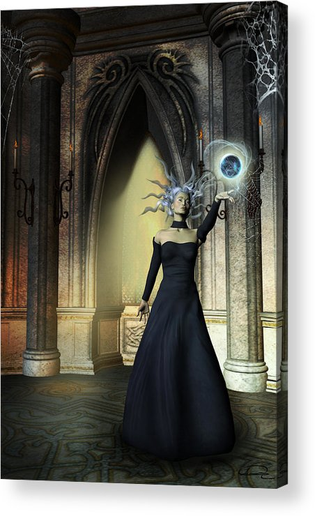 Sorceress Acrylic Print featuring the painting The Curse Of The Sorceress by Emma Alvarez