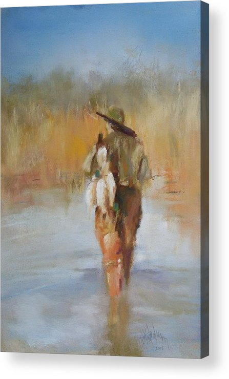 Duck Acrylic Print featuring the painting The Duck Hunter by Debbie Anderson