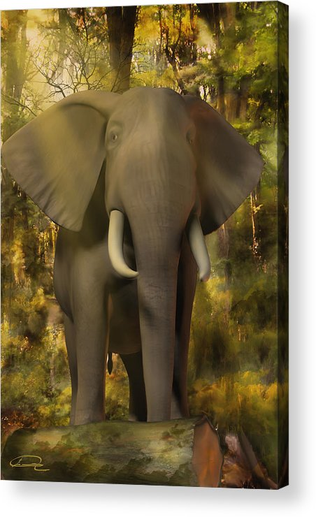 Animal Acrylic Print featuring the painting The Elephant by Emma Alvarez