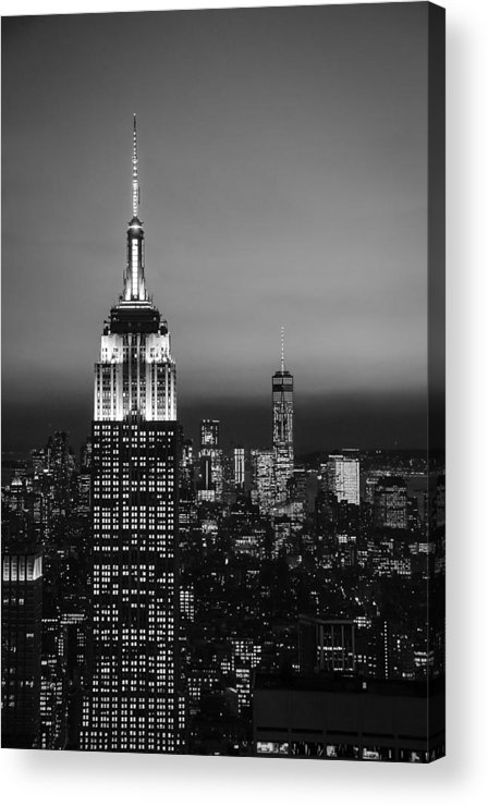 New York Acrylic Print featuring the photograph The Empire In Mono by Kim and Joe Brownfield
