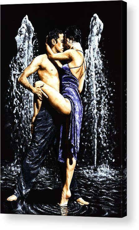 Tango Acrylic Print featuring the painting The Fountain Of Tango by Richard Young