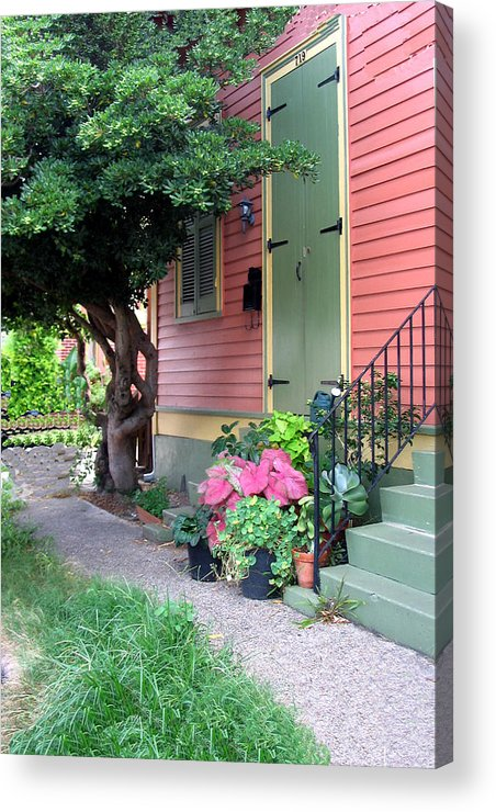 Building Acrylic Print featuring the pyrography The Green Shutters by Myrna Salaun
