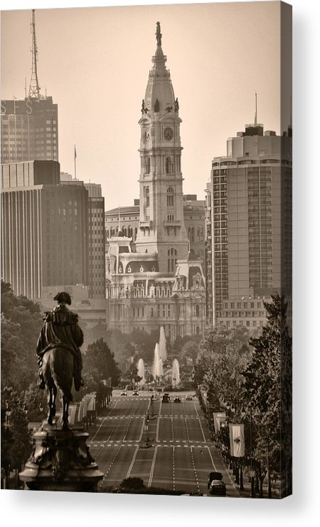 Benjamin Franklin Parkway Acrylic Print featuring the photograph The Parkway In Sepia by Bill Cannon