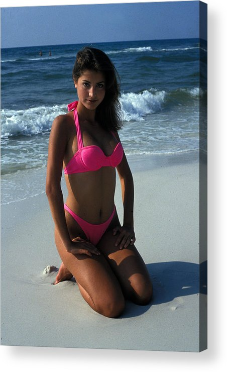 Attractive Acrylic Print featuring the photograph The Pink Bikini by Carl Purcell