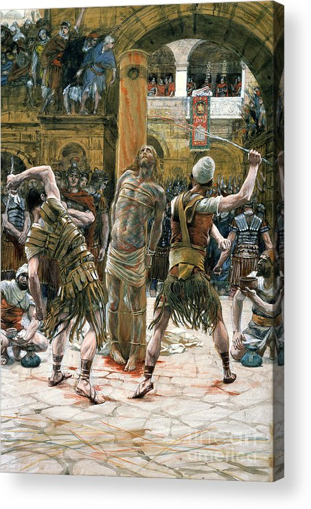 Whips Acrylic Print featuring the painting The Scourging by Tissot