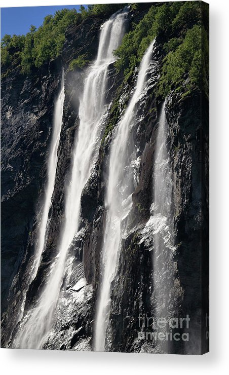 Waterfall Acrylic Print featuring the photograph The Seven Sister Waterfall by Arild Lilleboe