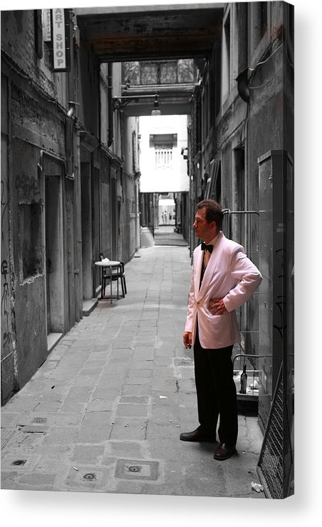 Venice Acrylic Print featuring the photograph The Smoking Man In Venice by Greg Sharpe