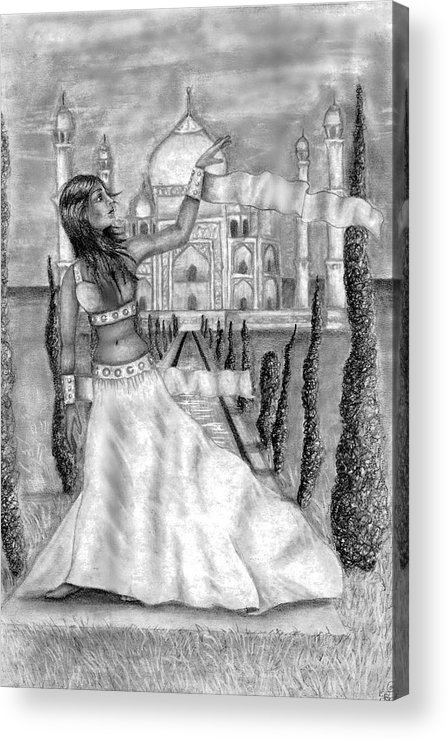 Taj Mahal Acrylic Print featuring the drawing The View by Scarlett Royal