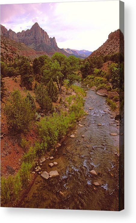 Zion National Park Acrylic Print featuring the photograph The Watchman Formation Zion by Alan Lenk
