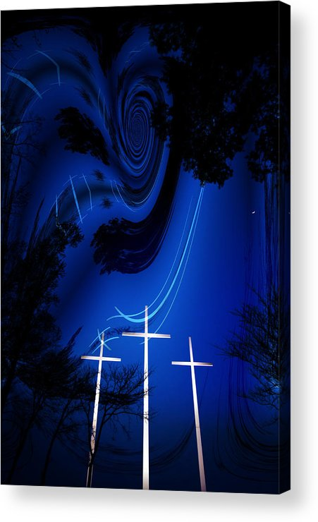 Crosses Acrylic Print featuring the photograph Three White Crosses by Mykel Davis