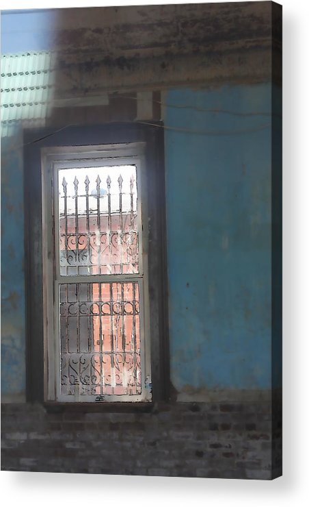 Window Bars Reflection Dream Brick Blue Acrylic Print featuring the photograph Through The Bars She Saw Her Freedom by Suzanne Thurman
