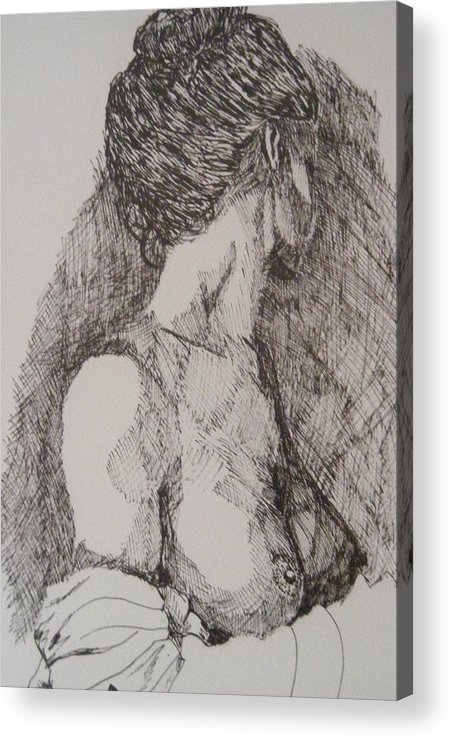 Female Form Acrylic Print featuring the drawing Tranquility by Donald Dean
