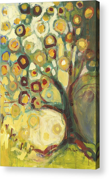 Tree Life Abstract Modern Circles Contemporary Nature Acrylic Print featuring the painting Tree Of Life In Autumn by Jennifer Lommers