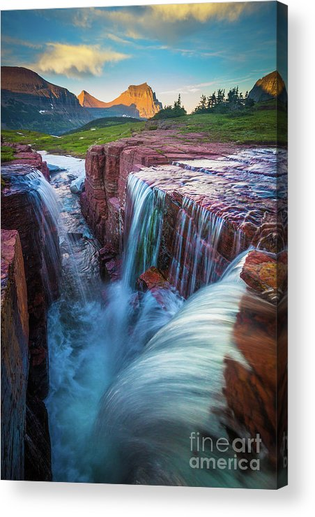 America Acrylic Print featuring the photograph Triple Falls Cascades by Inge Johnsson