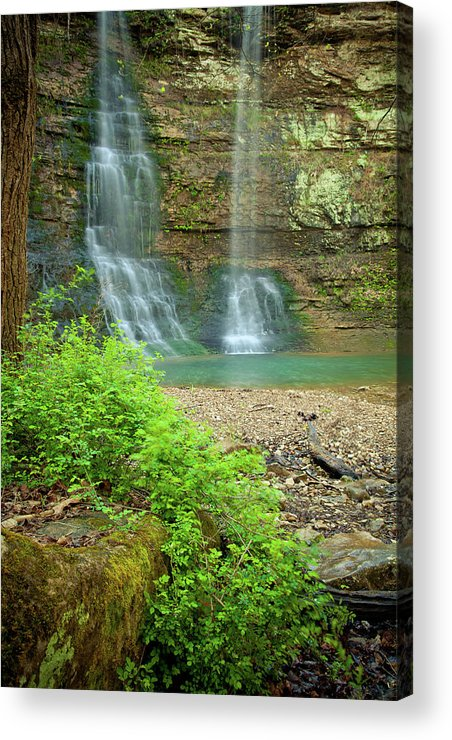 Landscape Acrylic Print featuring the photograph Tripple Falls In Springtime by Iris Greenwell