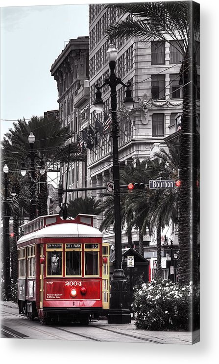 Nola Acrylic Print featuring the photograph Trolley On Bourbon And Canal by Tammy Wetzel