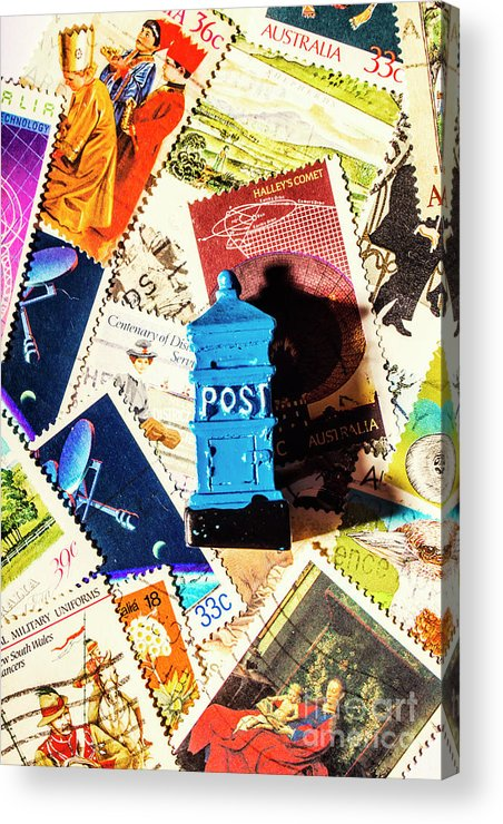 Mail Acrylic Print featuring the photograph True Blue Postbox by Jorgo Photography - Wall Art Gallery