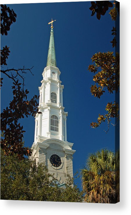 Steeple Acrylic Print featuring the photograph True North - Savannah Steeple by Suzanne Gaff