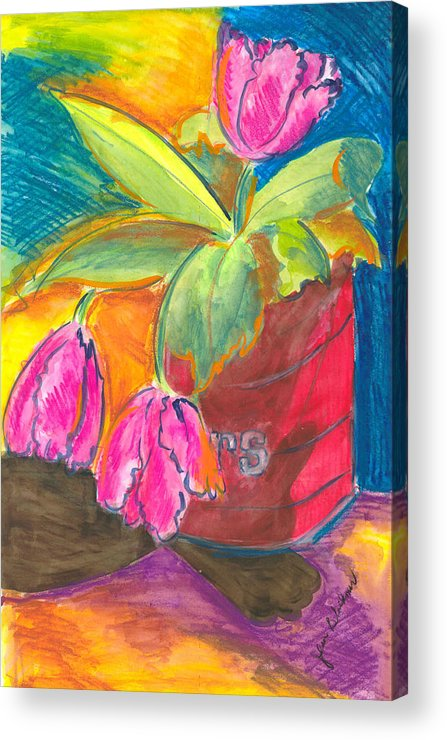 Flowers Acrylic Print featuring the painting Tulips In Can by Jean Blackmer