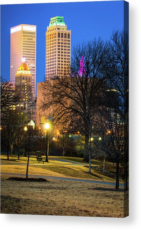 America Acrylic Print featuring the photograph Tulsa Towers From Centennial Park by Gregory Ballos