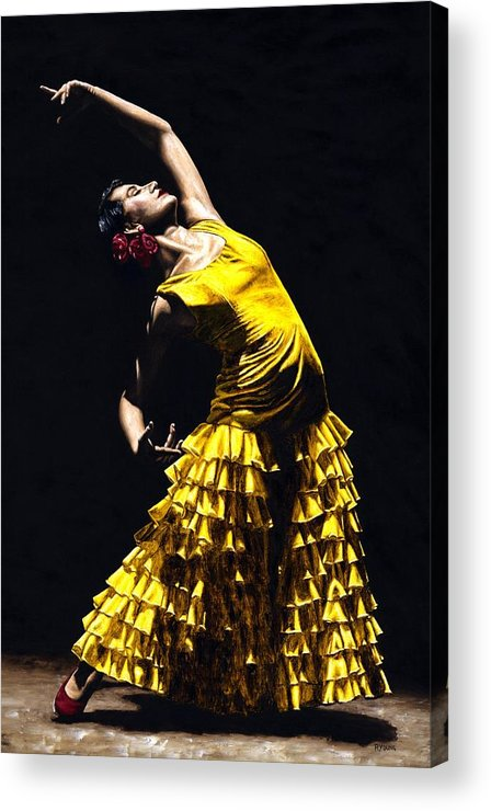 Flamenco Acrylic Print featuring the painting Un Momento Intenso Del Flamenco by Richard Young