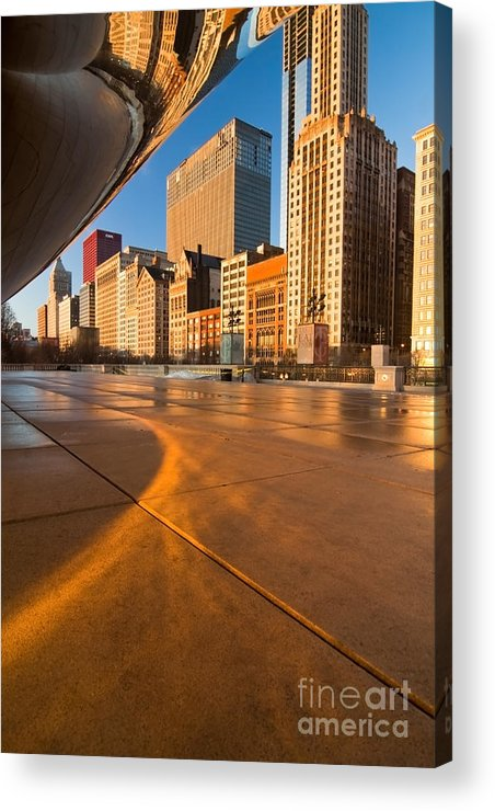 Chicago Acrylic Print featuring the photograph Under The Bean And Chicago Skyline At Sunrise by Sven Brogren