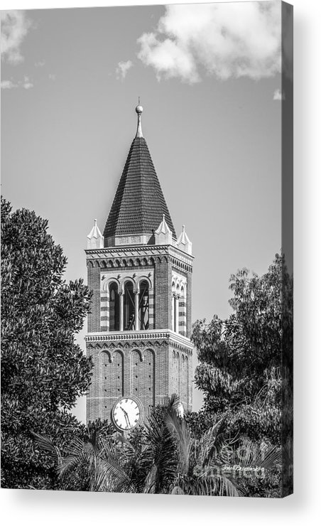 Aau Acrylic Print featuring the photograph University Of Southern California Clock Tower by University Icons