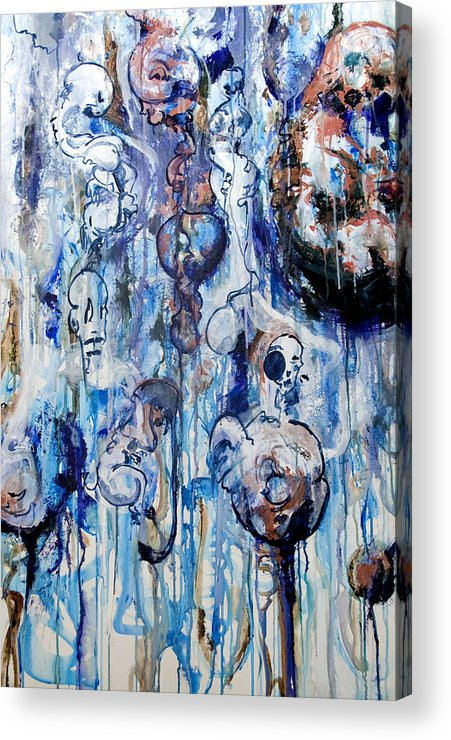 Blue Acrylic Print featuring the painting Untitled Blue by David Tarsa