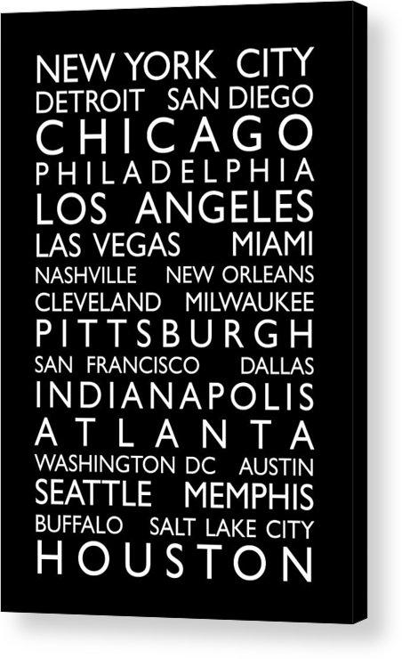 Usa Acrylic Print featuring the digital art Usa Cities Bus Roll by Michael Tompsett