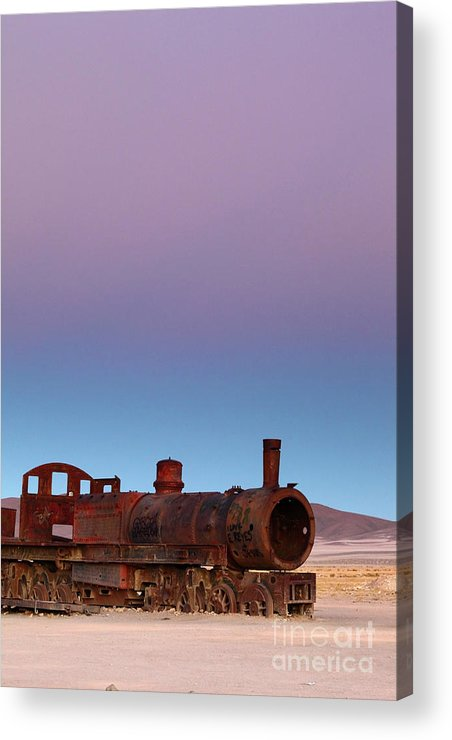 Bolivia Acrylic Print featuring the photograph Uyuni Train Graveyard At Sunset by James Brunker