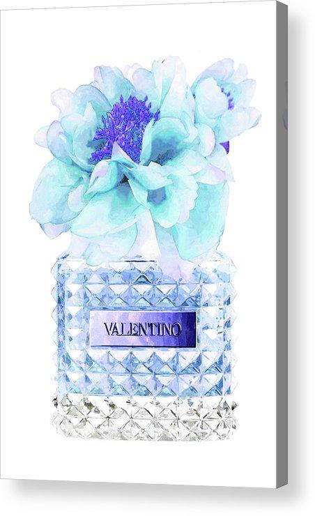 Valentino Acrylic Print featuring the mixed media Valentino Blue Perfume by Del Art